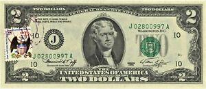 1976 $2.00 BICENTENNIAL UNITED STATES NOTE w/FIRST DAY STAMP ~ NEW ~ 1c START