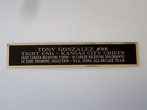 Tony Gonzalez Chiefs Nameplate For A Signed Football Jersey Case 1.25 X 6