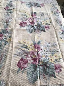 Pair Vintage Sweet Tropical Textured Barkcloth Daisys Floral Fabric Curtains Vat