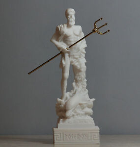 Poseidon Greek God of the Sea Neptune Statue Sculpture Figurine Handmade 6.5in