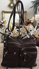 Fossil key Brown Pebbled Leather Pockets Travel Pouch Fanny Waist/Hip Pack EUC!