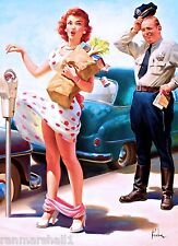 1940s Pin-Up Girl Feeding the Parking Meter Picture Poster Print Vintage Pin Up