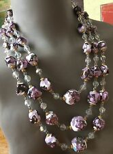 COLLIER HUGE NECKLACE MURANO 1950 VINTAGE AUTHENTIQUE PARME  3 RANGS FERMOIR