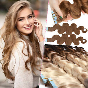Invisible Tape in Russian 100% Remy Human Hair Extensions Skin Weft Full Head US