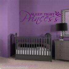 Sleep Tight Principessa gloss Wall Sticker Decal Wal ART grazioso dettaglio della Corona
