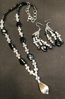 Vtg Glass Black And Silver QVC BEADED Strand Necklace PIERCED  Earring Set