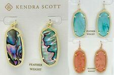 NEW KENDRA SCOTT ELLE Feather Weight Statement Drop Earrings Abalone Aqua Quartz