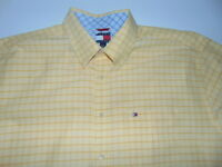 Tommy Hilfiger Yellow Check Short Sleeve Button Front Shirt Men's Size XL