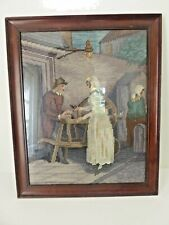 Vintage Mahogany Framed Tapestry Pastoral Couple 2 of 3 listed