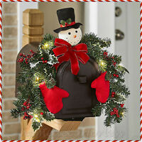 LIGHTED MAILBOX SWAG Snowman Garland Holly Christmas Holiday Outdoor Home Decor