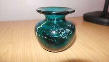 DD134: Signed Mdina Art Glass Turquoise Blue / Green  Vase