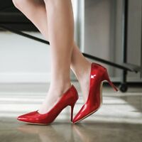 Womens Pointy Toe Wedding Party Shoes Plus Size High Heel Stiletto Pumps Slip on