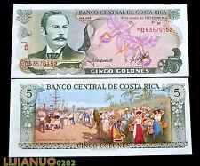 Costa Rica 5 Colones 1992 P-236e UNC BANKNOTE CURRENCY  Beautiful Color