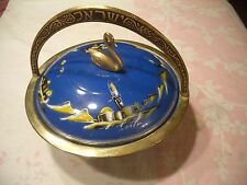 NICE VINTAGE BRASS/BLUE ENAMAL HAND PAINTED COVERED SWAN CANDY DISH, ISRAEL!
