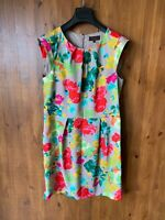GREAT PLAINS DRESS Grey Pink Green Floral Shift A-Line Summer M / 12 / 40 - NEW