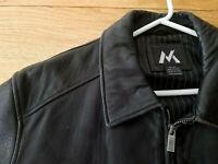 MEMBER'S MARK Black 100% Soft Leather Zip Bomber Jacket Car Coat Men's XL