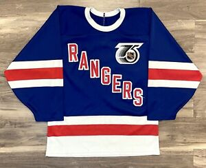 New York Rangers 1991-1992 TBTC NHL Hockey Jersey Throwback CCM 75th Patch Retro