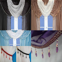 Crystal Beaded Voile Curtain Swags All Colours -Pelmet Valance Net Curtains Swag