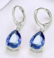 White Gold Plated Diamond Cut Sapphire Teardrop Dangle Earrings 28mm ITALY MADE