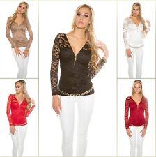 Sexy Koucla Spitzenshirt Damen Shirt Spitze Zipp Top Bluse LangarmShirt 34-44