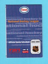 ESSO 2002-03  NHL Hockey Schedule Wayne Gretzky