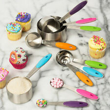 10Pcs Baking Measuring Cups Spoons Teaspoon Set Kitchen Tool Stainless   √a