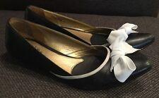 *SAM EDELMAN* Women's Black White Bow Kitten Heels Size 6M