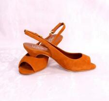 LORIBLU 5040 Terracotta Suede Slingback Sandals 37.5 / US 7.5