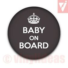 """25MM 1"""" BABY ON BOARD Badge Button Expectant Mum Mummy Pregnant Pregnancy Crown"""