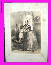 """Litho """"La Normandie illustrée"""" Femme environs de Bayeux  - Signé Lalaisse"""