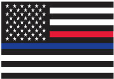 Thin Red & Blue Line US Flag Sticker Adhesive Back Decal American Bumper