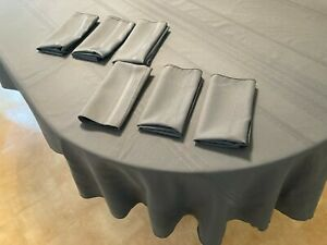 "82"" x 60"" Oblong Smoked Blue Damask Tablecloth & 6 Matching Cloth Napkins"