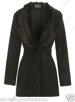 New Womens Wool Blend Winter Coat Detachable Fur Collar Belt Jacket Size 8 to 24