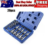 29PCS Male Female Torx Star Socket & Bit Set E & T Sockets w/ Torx Bits Tool Kit