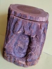Wood Log Jewelry Storage Trinket Box and Hand Crafted Wooden Train (2 items)