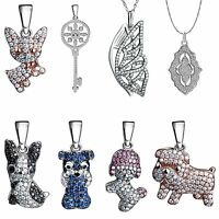 2017 Fashion Silver Charms Pendant Crystals Jewelry Fit Women 925 Necklace Chain