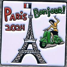 Colorful Bonjour! Welcome to Paris 2024 Collector Pin