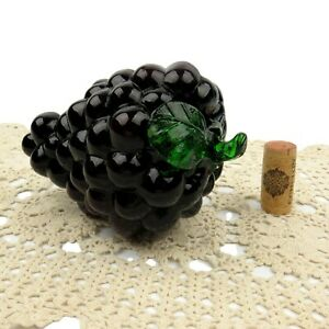 "Murano Style Hand Blown Art Glass Purple Grape Cluster w Green Stem 7.5"""