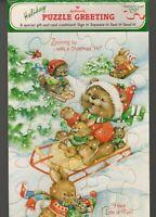 "Vintage Hallmark Holiday Puzzle Greeting Card Animals Sledding Christmas NEW 10"""