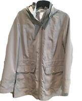 Croft Barrow Womens Parka Jacket Hooded Full Zip Olive Khaki Size Large NEW
