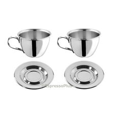 Motta Stainless Steel Espresso Cups and Saucers - Set of 2 / Made in Italy