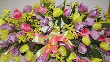 XL Assorted Silk Flowers Grave Pillow Cemetery Floral Diva Custom Color Bouquet