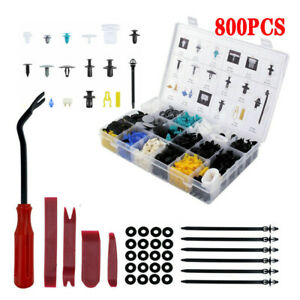 800PCS Car Auto Body Rivet Retainer Clips Push Pin+5PCS Fastener Removal Tool