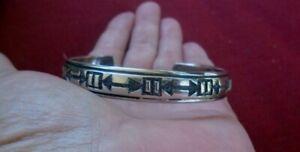 Navajo Cuff Bracelet Tommy Singer Signed Sterling Silver Vintage 15.8 Grams
