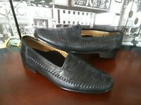 Zelli Milano Handcrafted ITALY Men's Loafer Shoes Ostrich Leg Black 10 W WIDE