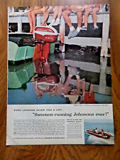 1957 Johnson Boat Motor Ad Even Looking Gives you a Lift Sweetest Running Ever