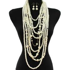 """20"""" cream faux pearl multi strand row strand body chain necklace 2"""" earrings"""