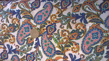 Blue Paisley pattern fabric 100% cotton lawn by the metre vintage
