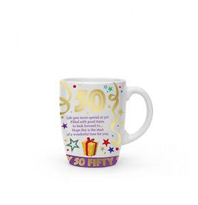 New boxed 50th birthday present gift fine china mug coffee cup Free P+P