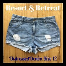 Denim Distressed Shorts, Light Blue, Preloved, Size 12, Great Condition